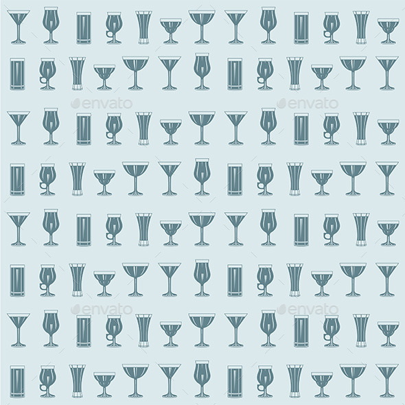 GraphicRiver Cocktails Pattern 9843254