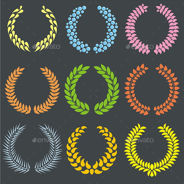 GraphicRiver Laurel Wreaths 9843318