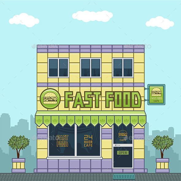 GraphicRiver Facade of a Cafe 9843655