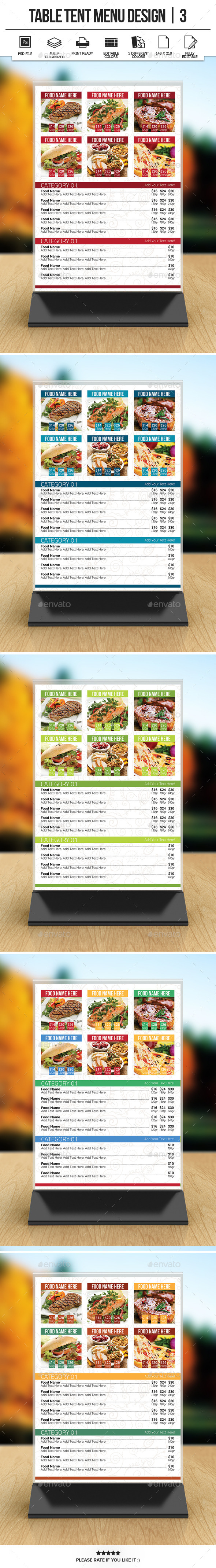 GraphicRiver Table Tent Menu Design 3 9843745