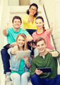 smiling students with tablet pc computer - PhotoDune Item for Sale