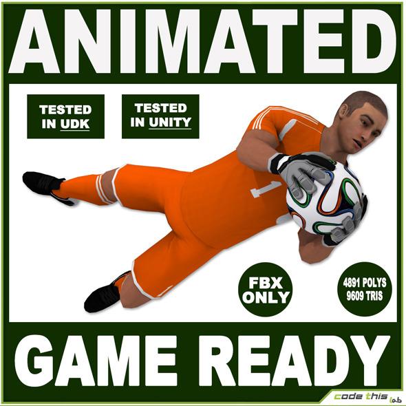White Soccer Goalkeeper 9609 tris (FBX ONLY) - 3DOcean Item for Sale