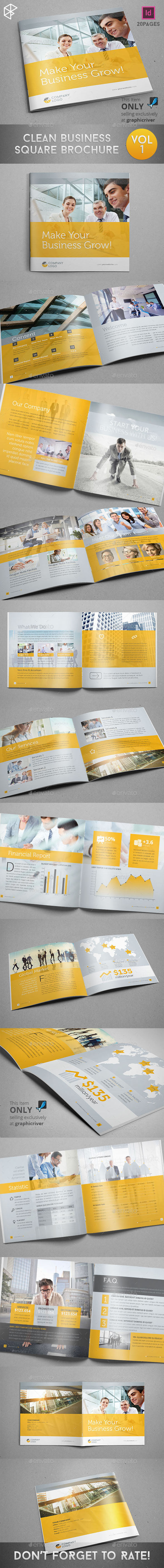 GraphicRiver Clean Business Square Brochure 9844214