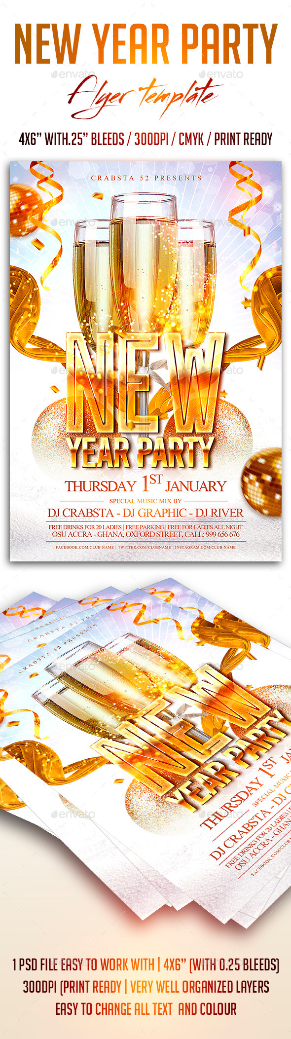 GraphicRiver New Year Party Flyer Template 9844219
