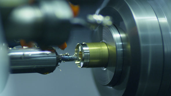 CNC Lathe Produces Metal Detail on Factory 2