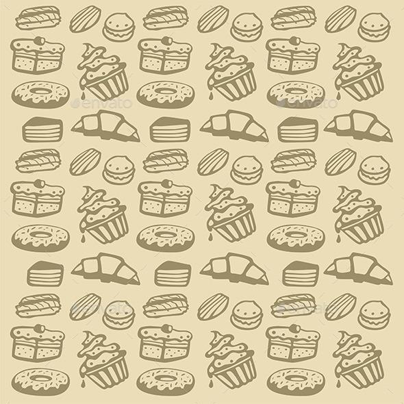 GraphicRiver Cupcake Pattern 9844554