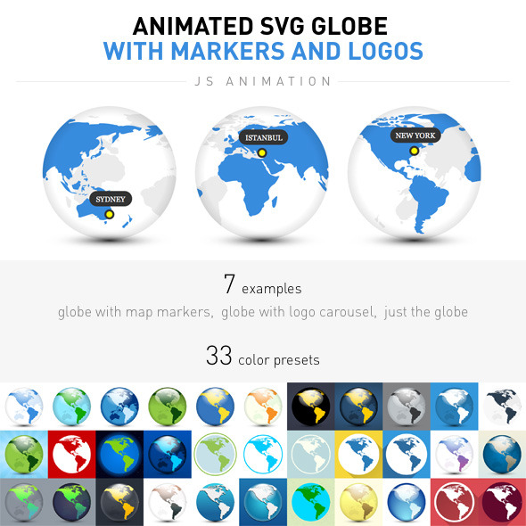 CodeCanyon Animated SVG Globe with Markers and Logos 9844557