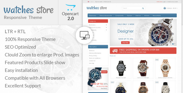 Watch Store - Opencart Responsive Theme - Technology OpenCart