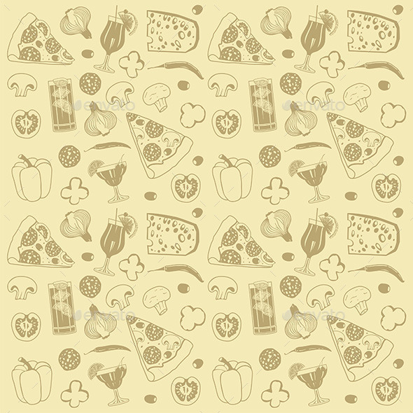 GraphicRiver Pizza Pattern 9845004