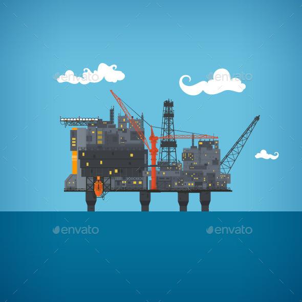 GraphicRiver Sea Oil Platform 9845121