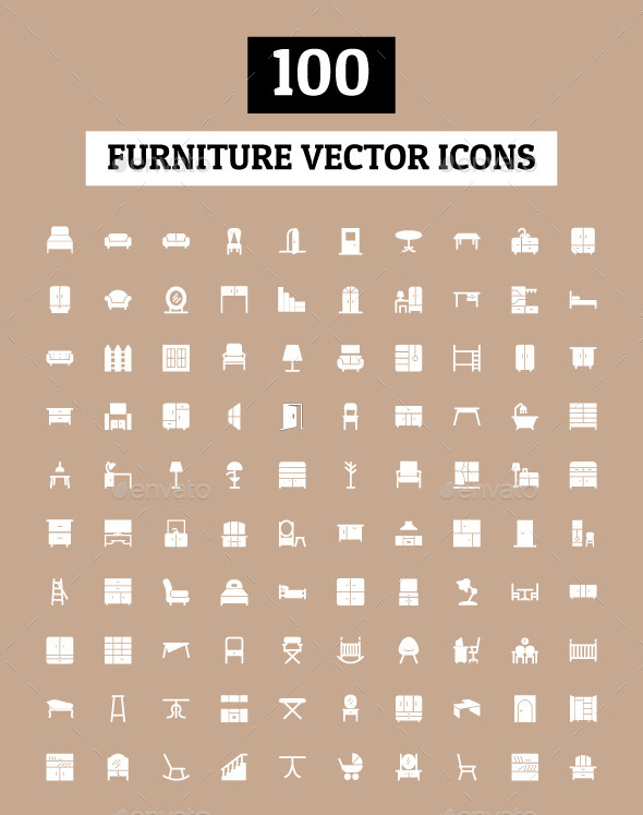 GraphicRiver 100 Furniture Vector Icons 9845240