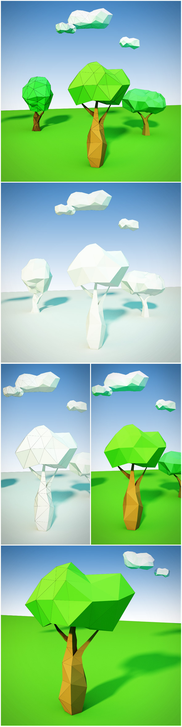 3DOcean Trees and clouds low poly 9845279