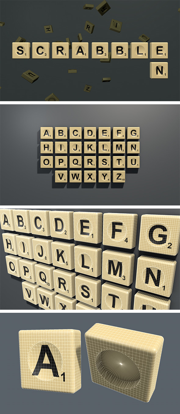 3DOcean Scrabble letter tiles in English 9845285