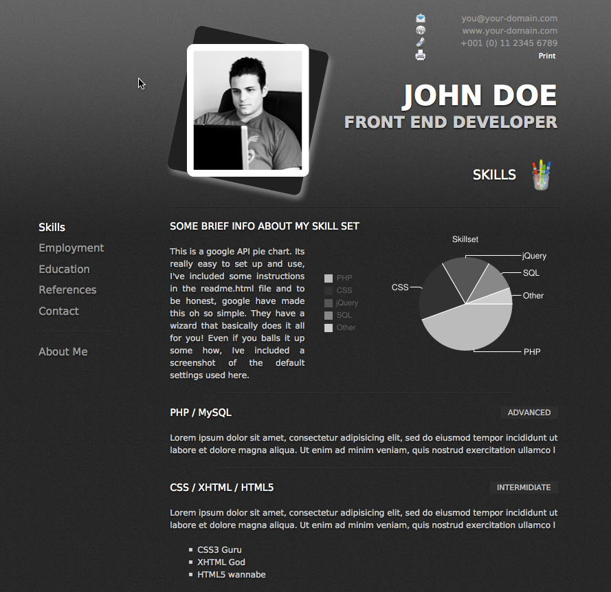 ProCV - Professional Online Resume / CV - Default page that you would see when the website loads.