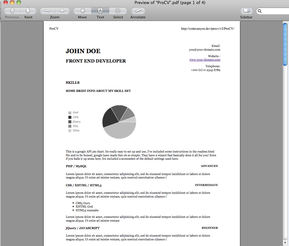 ProCV - Professional Online Resume / CV - I've included a print.css file so that anyone printing your CV / Resume only get the content there after! Here is a screenshot of a print preview.