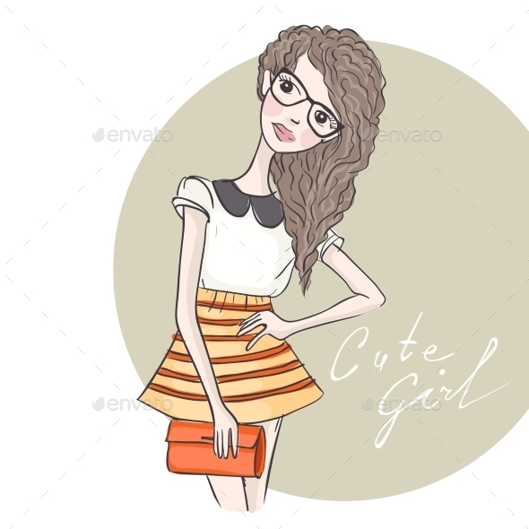 GraphicRiver Hipster Fashion Girl 9845704