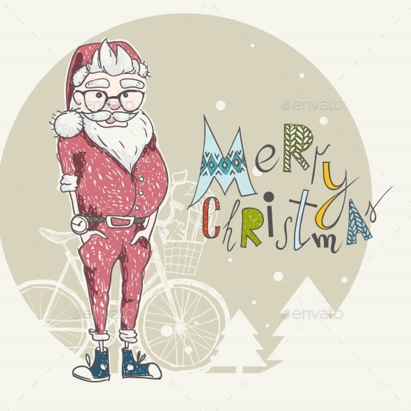 GraphicRiver Merry Christmas Background with Santa 9845735