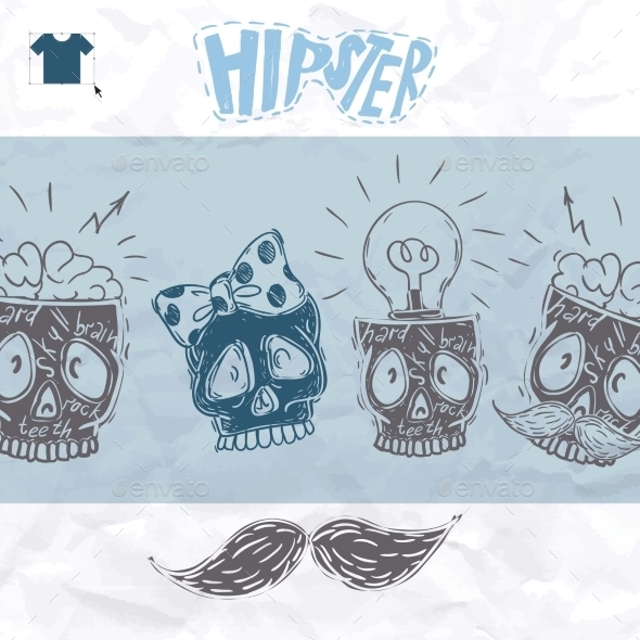 GraphicRiver Hipster Skull Background 9845949