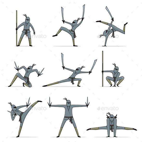 GraphicRiver Set of Ninja 9846438