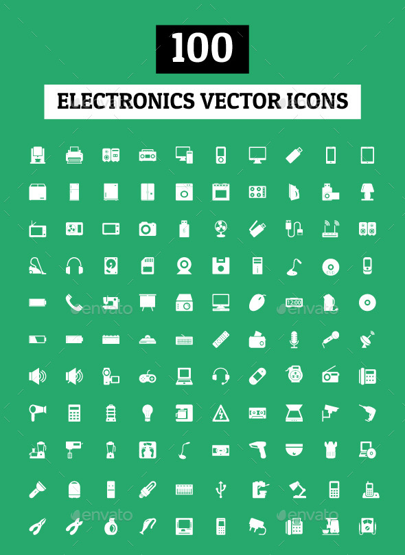 100 Electronics Vector Icons