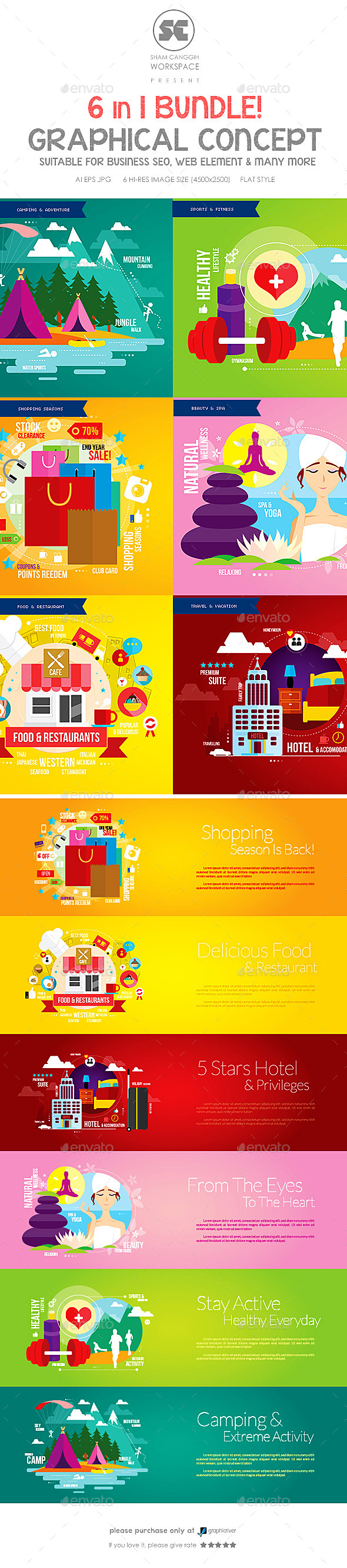 GraphicRiver Flat Concept Bundle 9847035