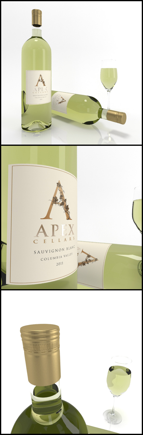 3DOcean Sauvignon Blanc wine bottles & full glass Apex 9847122