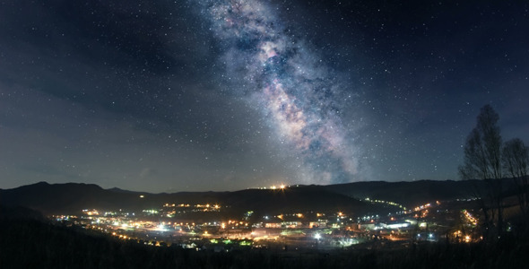 Milky Way Over Mountain Town