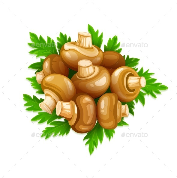 GraphicRiver Mushrooms Champignons with Green Parsley 9847239