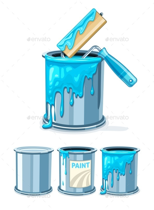 GraphicRiver Buckets with Blue Paint and Roller for Painting 9847243