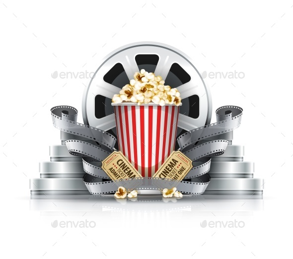 GraphicRiver Popcorn Film-Strips and Disks with Cinema 9847245