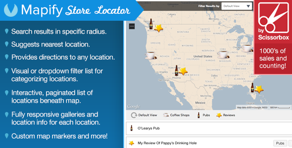 This WordPress Store Locator is an extremely advanced mapping system that makes it easy for your customers/visitors to find any location on your map. It feature