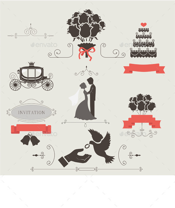 GraphicRiver Set of Vintage Elements for Wedding Invitation 9847360