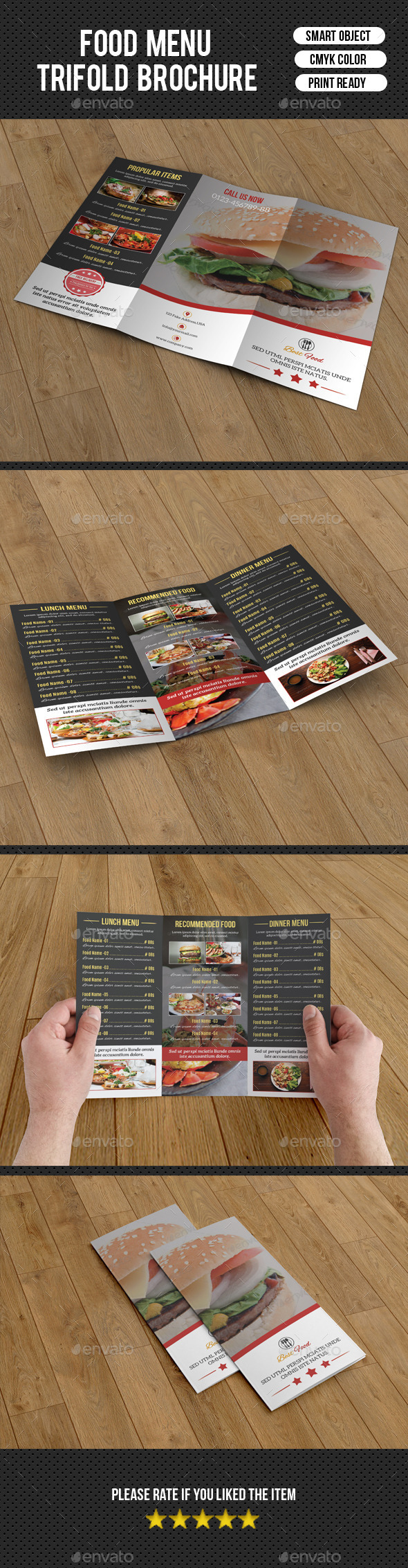 Food Menu Trifold Brochure-V205