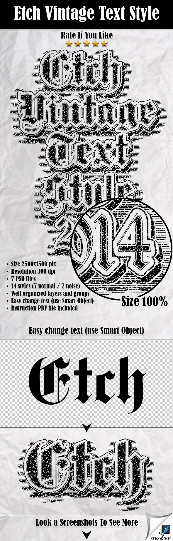 GraphicRiver Etch Vintage Text Style 9804098