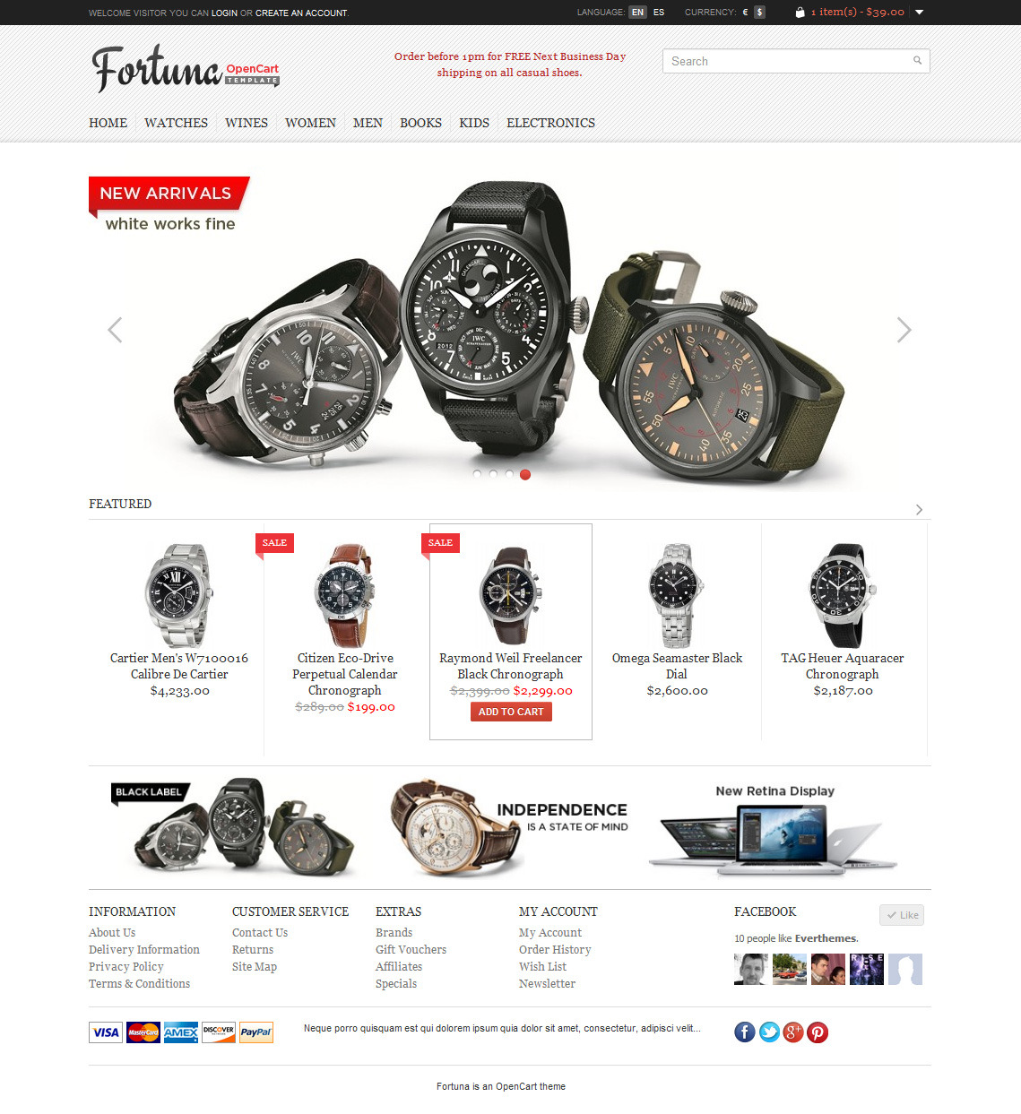 Fortuna - Elegant and responsive OpenCart theme