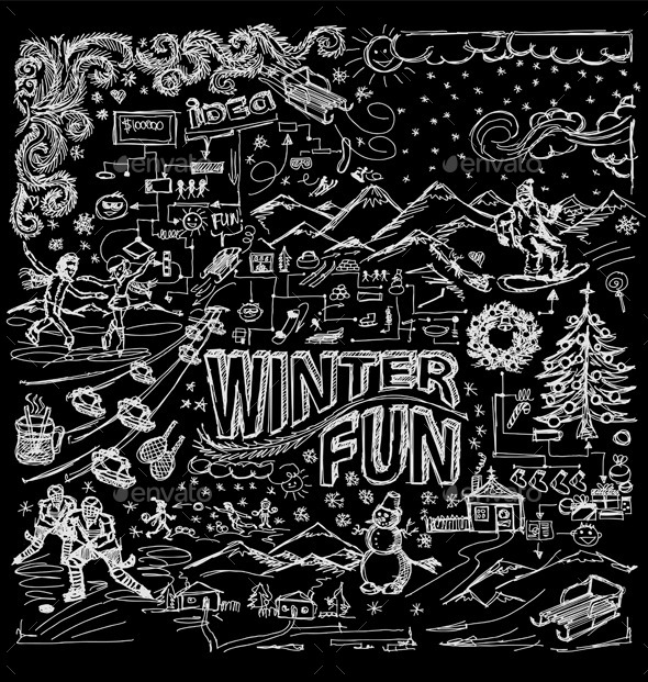 GraphicRiver Winter Fun Sketch Background 9847794