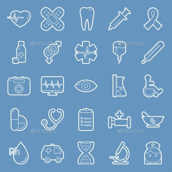 GraphicRiver Medical Lines Icon Set 9847866