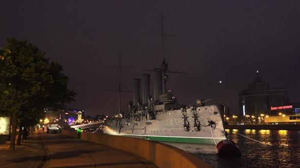 Aurora Cruiser in Saint-Petersburg Night 1