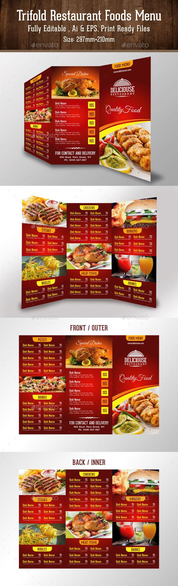 Trifold Restaurant Foods Menu