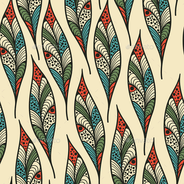 GraphicRiver Seamless Pattern with Bright Feathers 9848132