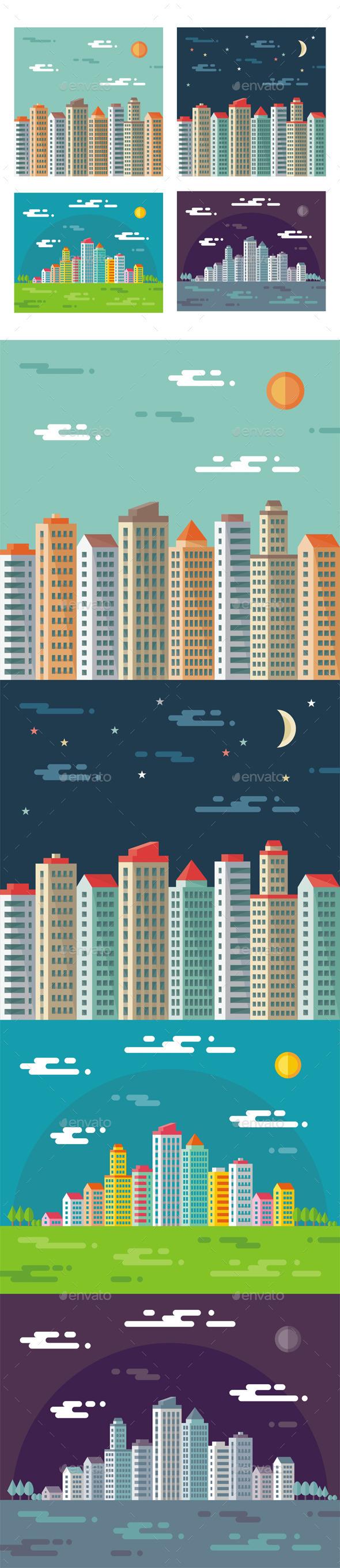 GraphicRiver Cityscape Abstract Buildings in Flat Style 9848142