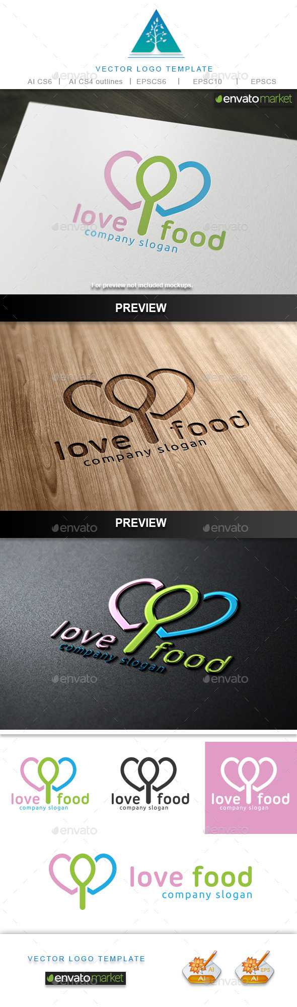 GraphicRiver Love Food Logo 9848390