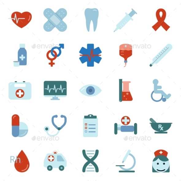 GraphicRiver Medical Flat Icons Set 9848553