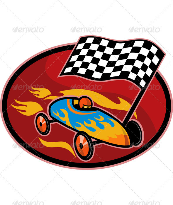 Soap Box Derby Car Racing Checkered Flag