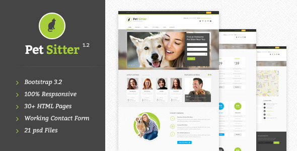 PetSitter - Responsive HTML5/CSS3 Template - Corporate Site Templates