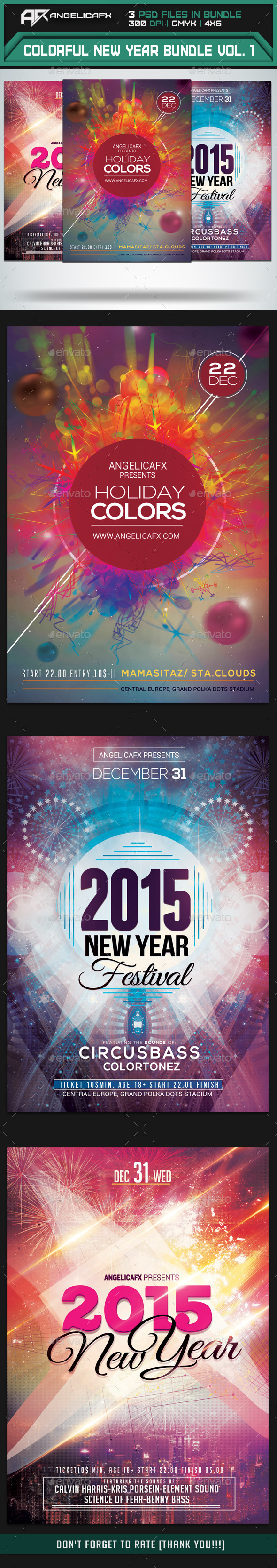 GraphicRiver Colorful New Year Flyers Bundle Vol 1 9848979