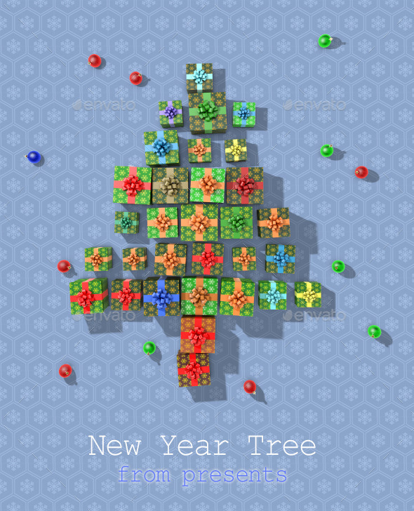 GraphicRiver New Year Tree From Presents 9848983