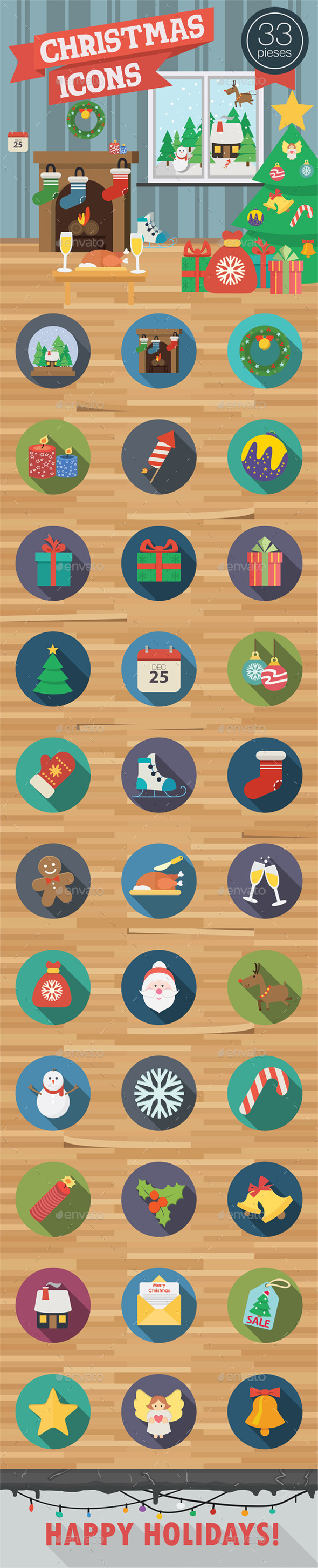 GraphicRiver 33 Christmas Icons in Flat Style 9848997