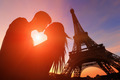 Romantic lovers with eiffel tower - PhotoDune Item for Sale