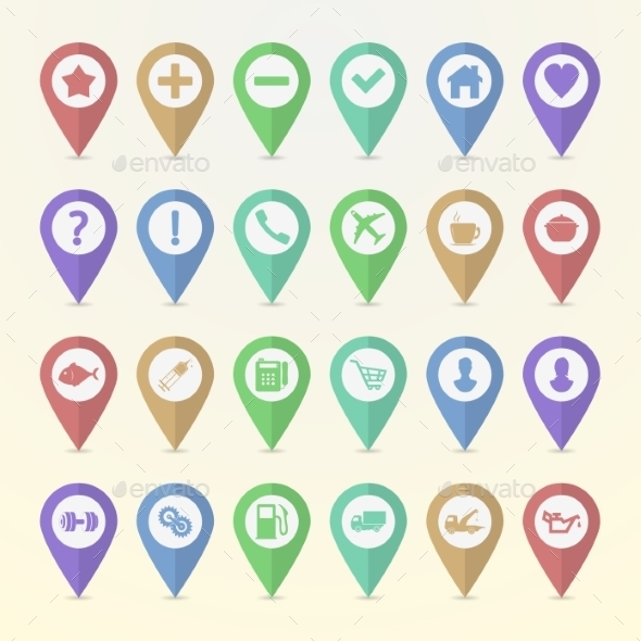 GraphicRiver Set of Map Pointer Icons 9849046